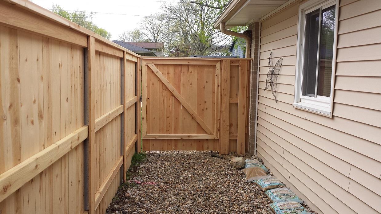 6 foot high cedar top cap gate