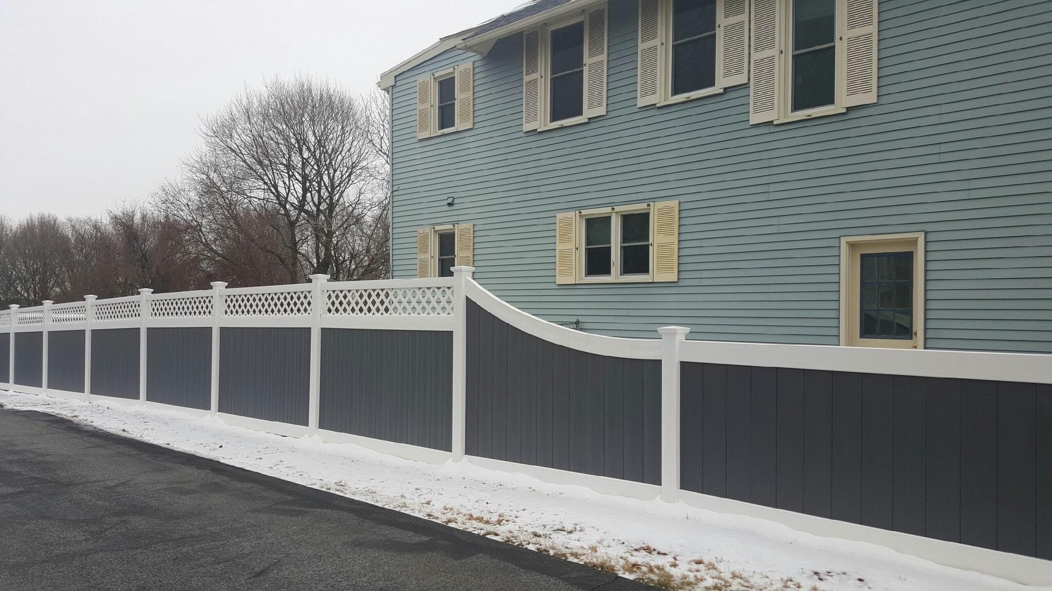 decorative vinyl fence with lattice board