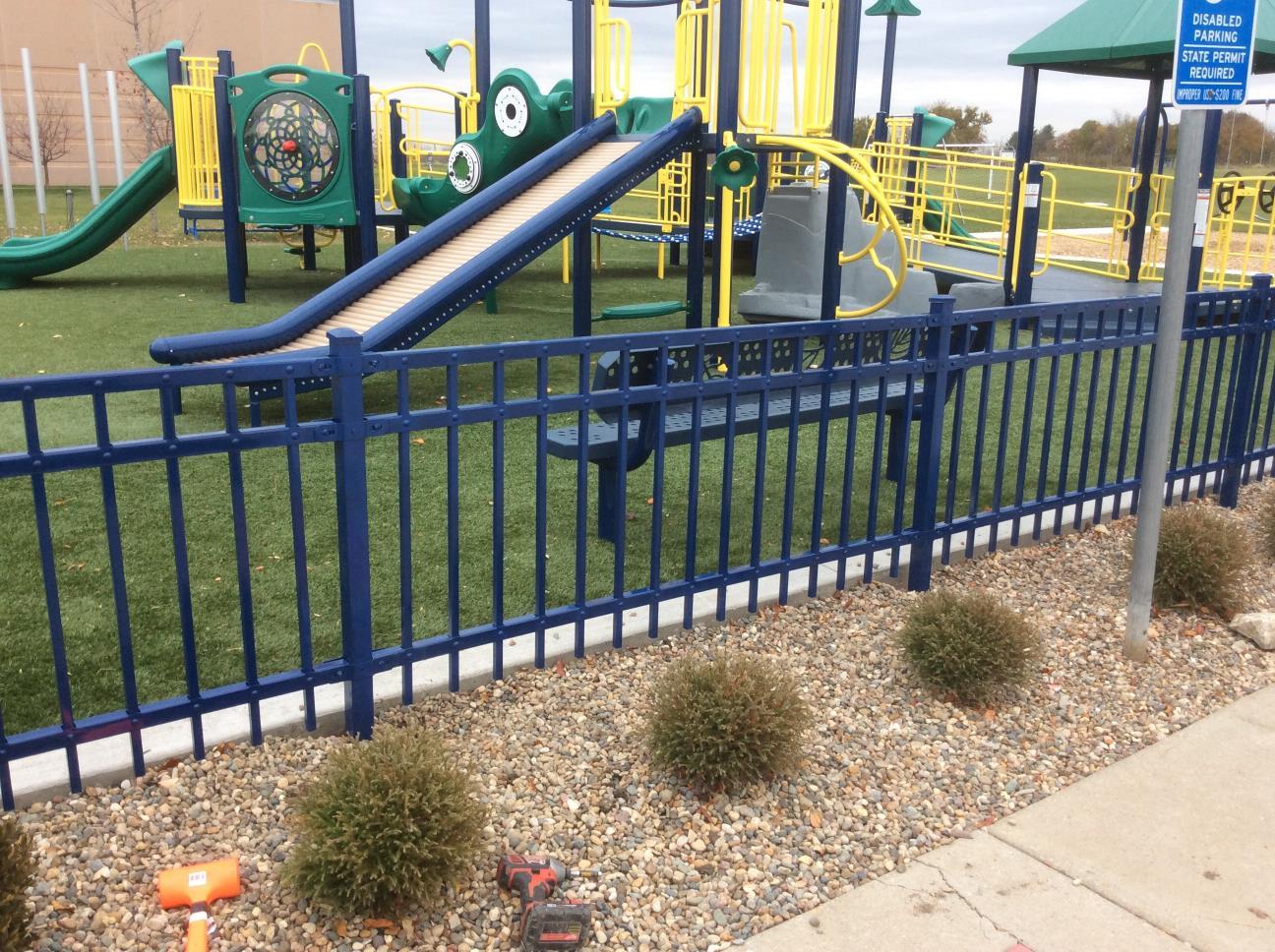 playground fence blue