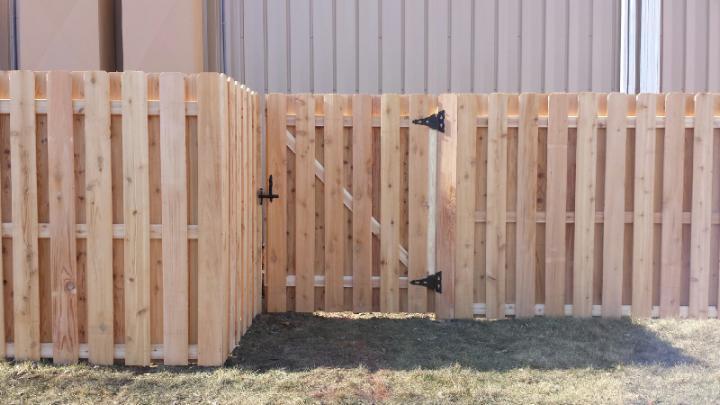 wood shadowbox fence gate